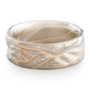 Gold River Mokume Gane Guri Bori Twist Wedding Ring or Band in Ash Palette with Yellow Gold Stratum