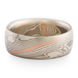 Breezy Mokume Gane Wedding Band or Ring in Twist Pattern and Ash Palette with 18k Red Gold Stratum