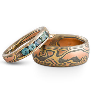 Charming Mokume Gane Rings or Wedding Set in Fire Palette and Woodgrain Pattern with Channel Set Sapphires