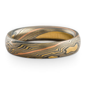 Earthy Mokume Gane Wedding band or Ring in Twist Pattern and Flare Palette with Red Gold Stratum