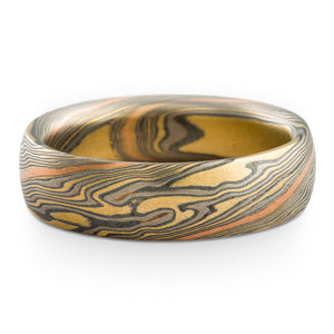 Wilderness Mokume Gane Wedding band or Ring in Twist Pattern and Flare Palette with Red Gold Stratum