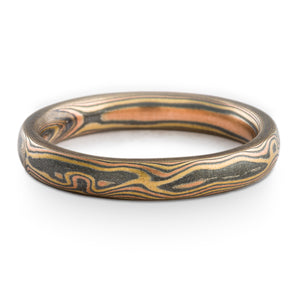 Timber Mokume Gane Wedding Ring or Band in Fire Palette and Woodgrain Pattern