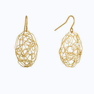 Spun Oval Gold Wire Earrings