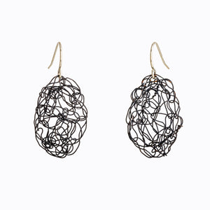 Oval Spun Oxidized Silver Wire Earrings
