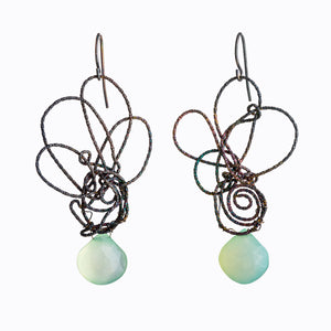 Earrings sterling silver wire knots with chalcedony briolettes, Susan Freda, organic and nature inspired jewelry, oxidized silver