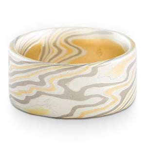 Bold Mokume Gane Ring or Wedding Band in Twist Pattern and Flare Palette