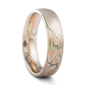 Delicate Mokume Gane Wedding Band or Ring in Twist Pattern and Embers Palette