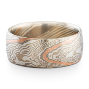 Stately Mokume Gane Ring or Wedding Band in Smoke Palette and Twist Pattern with Red Gold Stratum