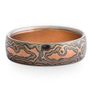 Forest Mokume Gane Ring or Wedding Band in Embers Palette and Woodgrain Pattern SHIPS TODAY