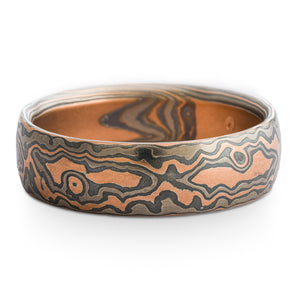 Forest Mokume Gane Ring or Wedding Band in Embers Palette and Oxidized Woodgrain Pattern