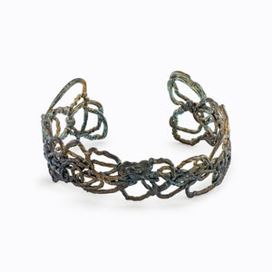 Knitted Oxidized Silver Cuff