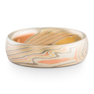 Mokume Gane ring or wedding band arn krebs custom made, firestorm palette twist pattern, non oxidized, red gold palladium yellow gold and silver