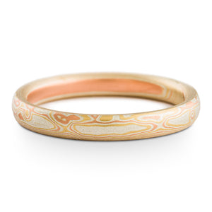 Sunny Cove Mokume Gane Wedding Band or Ring in Non Oxidized Fire Palette and Woodgrain Pattern