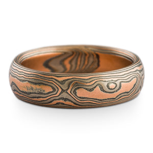 Mokume gane ring or wedding band arn krebs woodgrain pattern embers palette, low dome etched and oxidized, red gold, silver and palladium