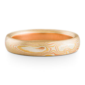Shoreline Mokume Gane Wedding Ring or Band in Non Oxidized Fire Palette and Woodgrain Pattern