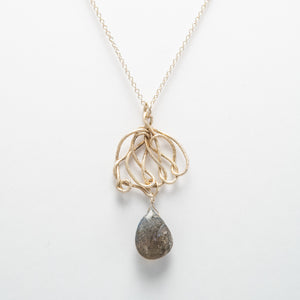 Knot Pendant with Labradorite Drop