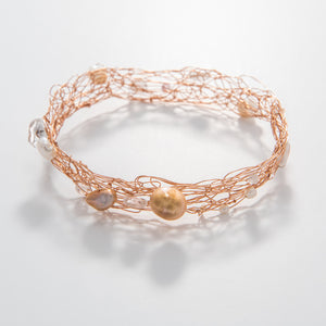 Thin Quartz & Pearl Bangle