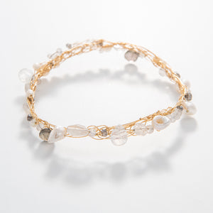 Thin Pearl & Gemstone Bangle