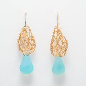Teardrops with Faceted Chalcedony Drops