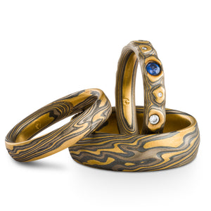 Mokume Gane Rings or Wedding Set in Flare Palette and Guri Bori and Twist Patterns with Kazaru Finish, Sapphire and Diamonds
