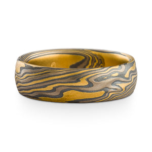 Mokume Gane Wedding Band or Ring in Twist Pattern and Flare Palette with Kazaru