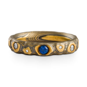 Elegant Mokume Gane Ring or Wedding Band in Guri Bori Pattern and Flare Palette with Blue Sapphire and Diamonds