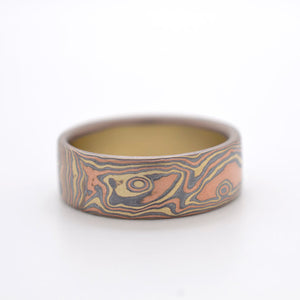 mokume gane wedding mens ring band in oxidized silver, red and yellow gold