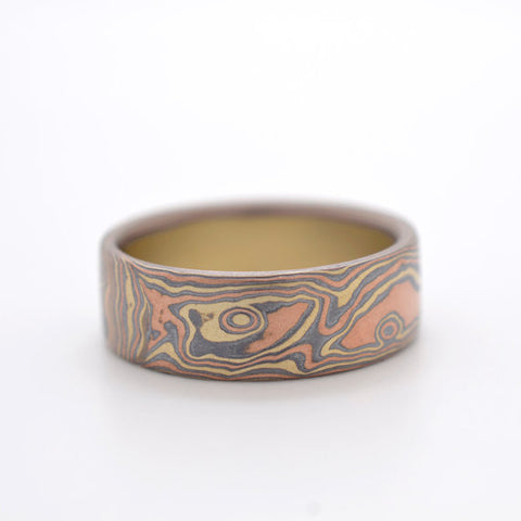 Figured Woodgrain Mokume in Red gold, Green Gold and Oxidized Silver with Etched Finish