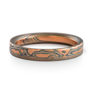Mokume Gane ring or wedding band by Arn Krebs, woodgrain pattern and embers palette, flat profile, red gold palladium and silver