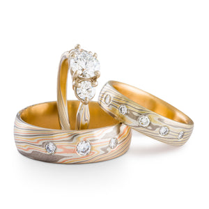 Mokume Gane ring set or three ring wedding set arn krebs, diamonds, yellow gold red gold palladium and sterling silver