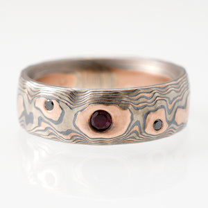 mens mokume gane ring with rubies. oxidized silver and gold mokume gane in the japanese mokume gane style