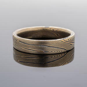 Mokume Gane Wedding Band or Ring in Echo Pattern with Etched and Oxidized Finish