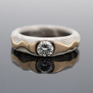 Mokume Guri Bori Ring in Ash with Yellow Gold Ridgeline and Diamond