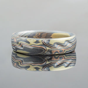 Mokume Gane Wedding Band or Ring in Twist Pattern and Firestorm Palette