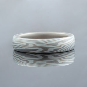 Mokume Gane Ring or Wedding Band in Twist Pattern and Smoke Palette