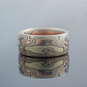 Mokume Gane Ring or Band in Fire Palette and Woodgrain Pattern