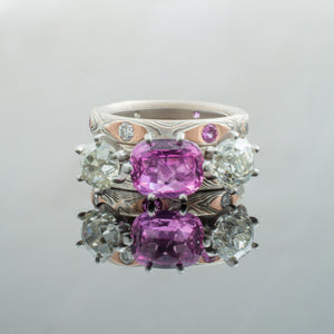 Mokume Gane Engagement or Bridal Set with Prong Set Diamonds & Sapphires in Guri Bori Pattern