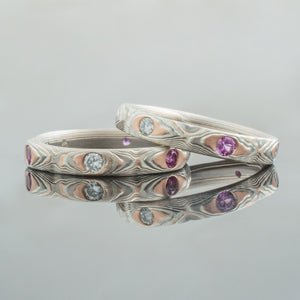 Mokume Gane Wedding Band or Ring Set with Flush Set Diamonds and Sapphires in Guri Bori Pattern