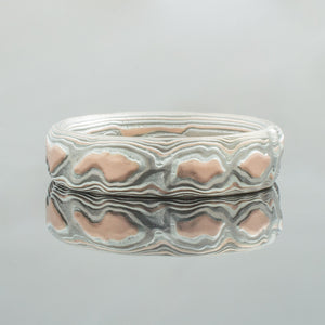 Mokume Gane Ring or Wedding Band in Guri Bori Pattern and Embers Palette