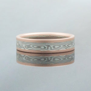 Mokume Gane Ring mens Wedding Band in Woodgrain Pattern and Ash Palette w/ Rose Gold Rails Mokume Gane Ring or mens Wedding Band matching wedding bands custom bespoke red gold yellow gold black blackened oxidized silver palladium alternative metal nature inspired rustic artisan topographical earthy style unique handmade matching wedding bands mens womens custom wedding bands