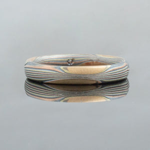 Mokume Gane Wedding Band or Ring in Flow Pattern and Fire Palette