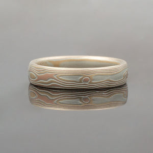 Mokume Gane Wedding Band or Ring in Fire Palette and Woodgrain Pattern