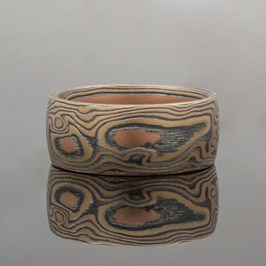Mokume Gane Wedding Band or Ring in Oxidized Fire Palette and Woodgrain Pattern