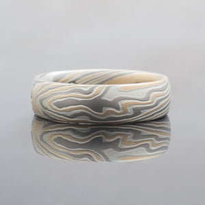 Mokume Gane Ring or Wedding Band in Twist Pattern and Flare Palette w/ Chocolate Diamonds Flush Set Inside