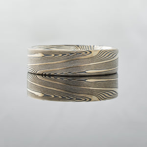 Wide mens mokume gane ring in 14kt yellow gold and silver