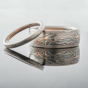 Artisan Mokume Gane Wedding set in Red gold,  palladium and silver