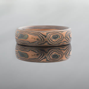 Mokume Gane Ring or Wedding Band in Woodgrain Pattern and Flame Palette