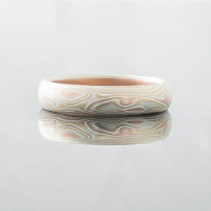 Custom Mokume Gane Ring Wedding Band. Red gold,  palladium and silver