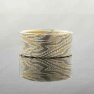 Mokume Gane Ring or Wedding Band in Flare Palette and Twist Pattern