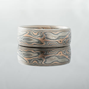 artisan made Handmade Mokume Gane Ring Wedding Band Red rose gold yellow white gold palladium sterling silver patterned topographical nature inspired mixed metal earthy organic style